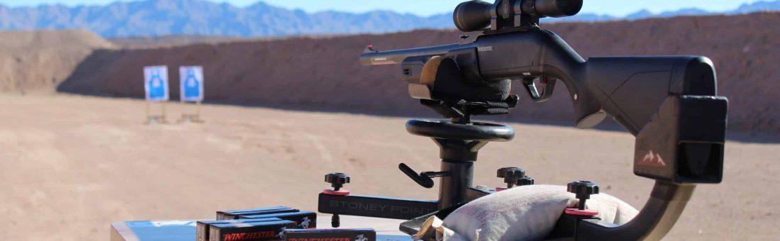 Rifle on firearms mount.